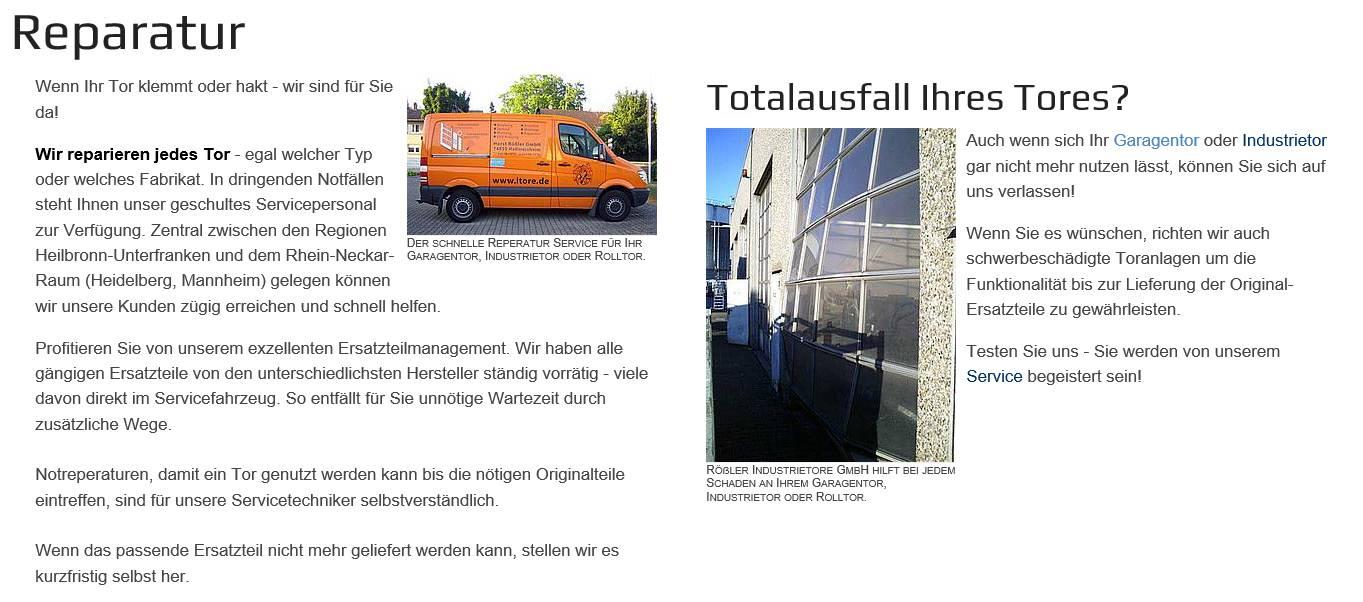 Torreparatur für 97953 Königheim , Höpfingen, Werbach, Ahorn  und  Lauda-Königshofen, Boxberg, Walldürn