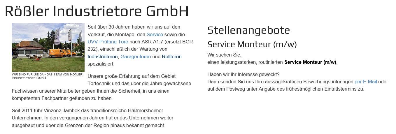 Über Rößler Industrietore GmbH
