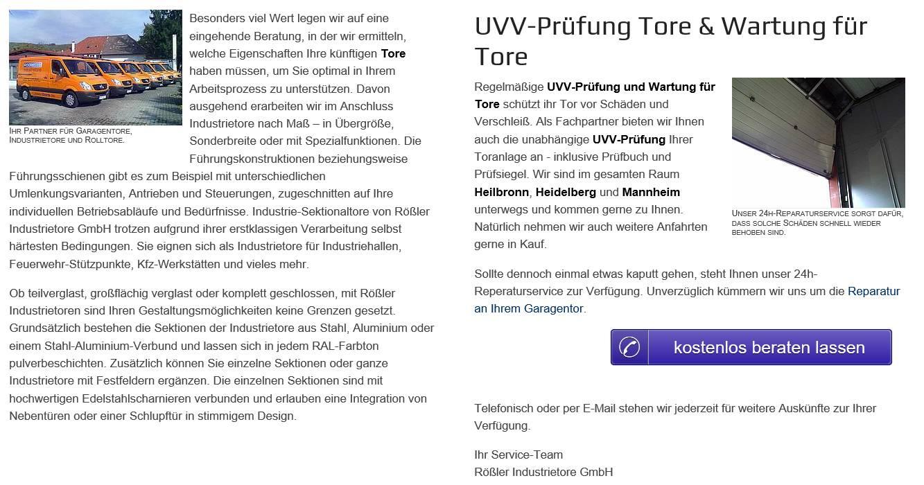 Tor Service, Torwartung, UVV Prüfung und Torreparaturen  Wittighausen